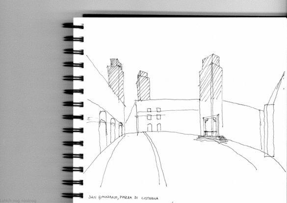 skica toskankih stolpov v san gimignano
