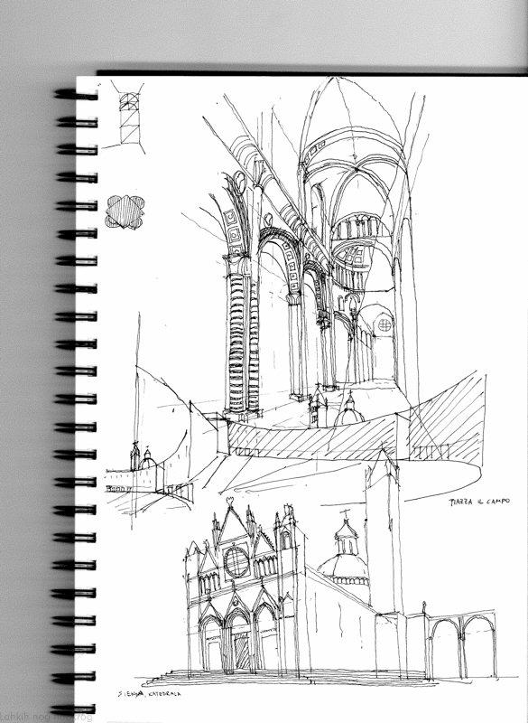skica katedrale v sieni
