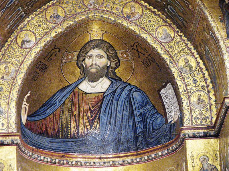 mozaik Jezusa v cerkvi Monreale, Sicilija
