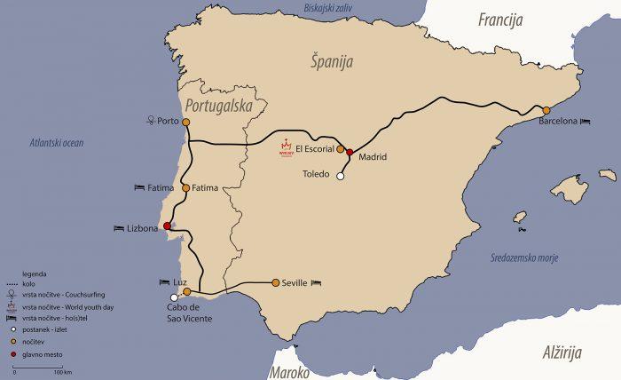 Zemljevid potovanja po Španiji in Portugalski