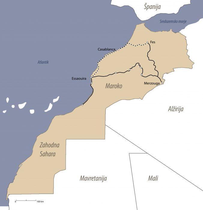 zemljevid maroko - pregled potovanja