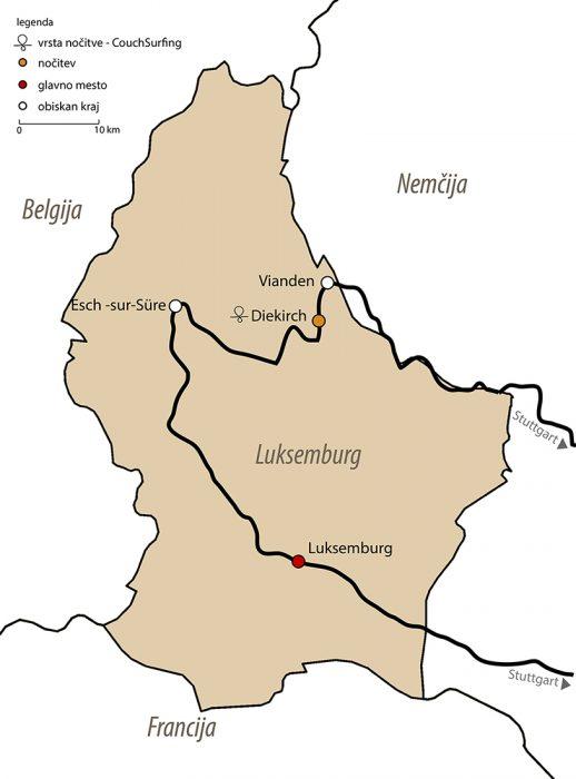 Zemljevid izleta v Luksemburg