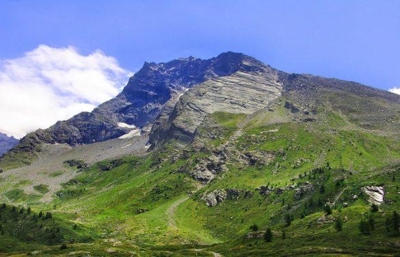 pokrajina v Švici: zeleni travniki in visoke gore
