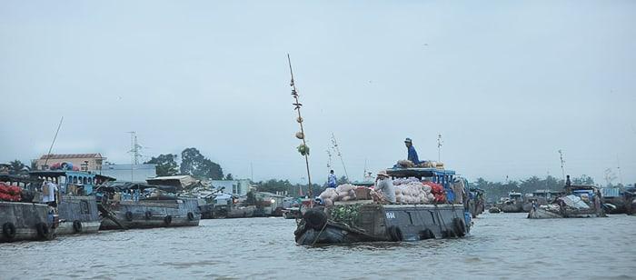 delta reke Mekong: plavajoča tržnica Cai Rang