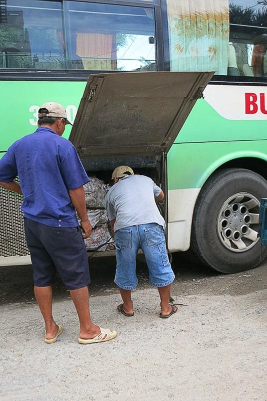 moški pospravljajo tovor v avtobus
