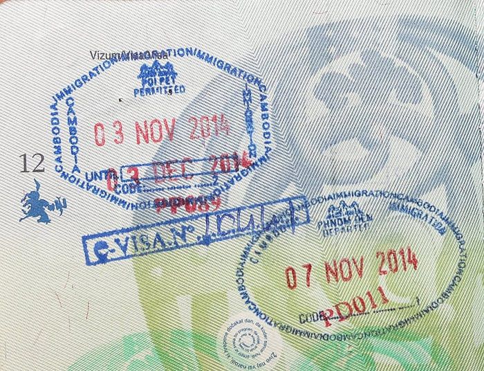 kambodža vstopni žig