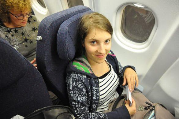 ženska na letalu