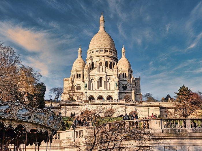 Bazilika Sacre Coeur - bela kupola, bazilika v parizu