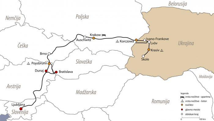 zemljevid in načrt potovanja v Ukrajino