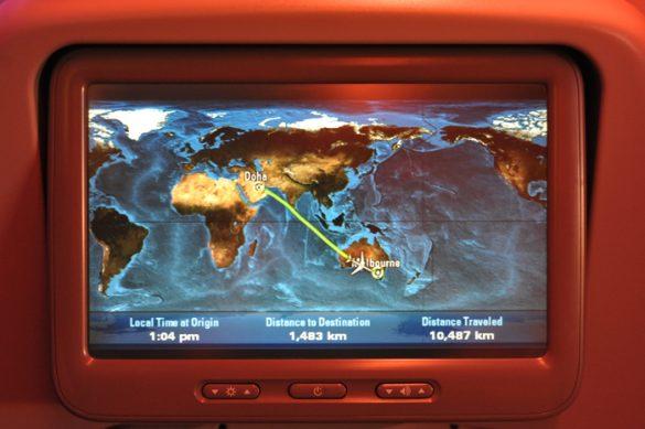 potek leta Doha - Melbourne