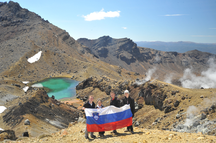 skupina slovencev na tongariro alpine crossing