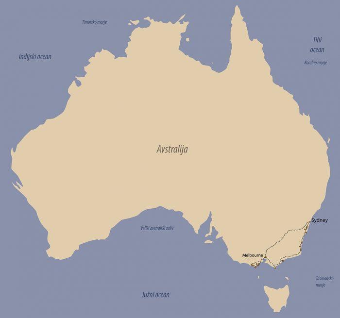 Avstralija - pregled potovanja, zemljevid Avstralija