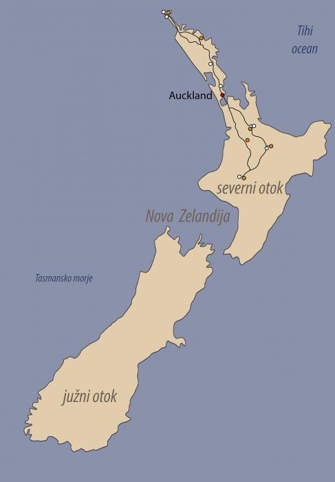 zemljevid Nova Zelandija