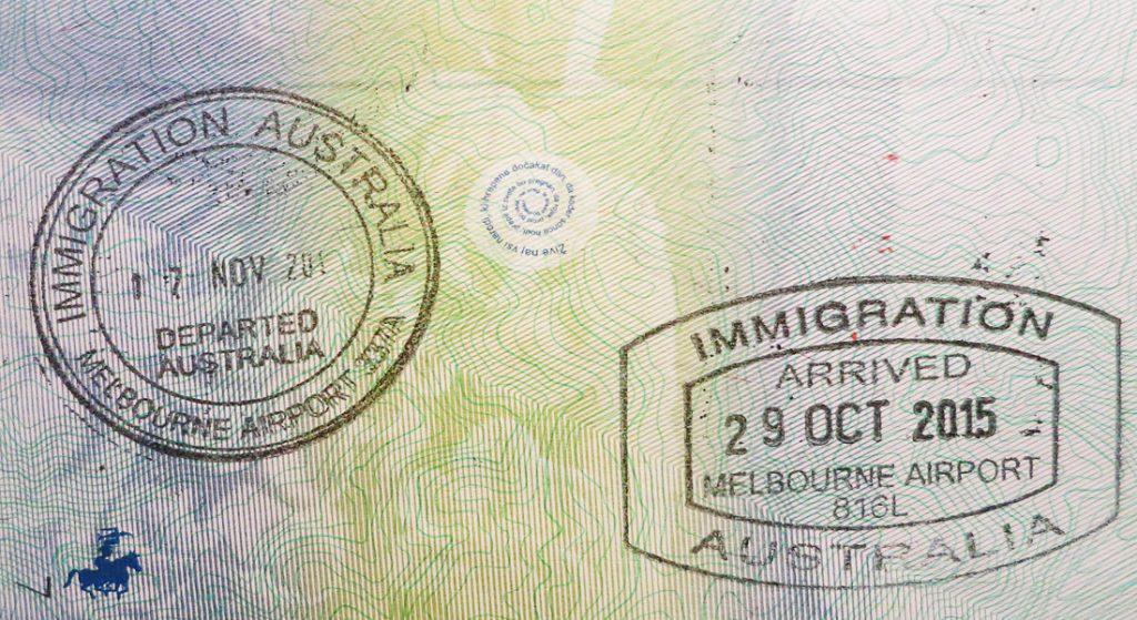 Avstralija žig v potnem listu