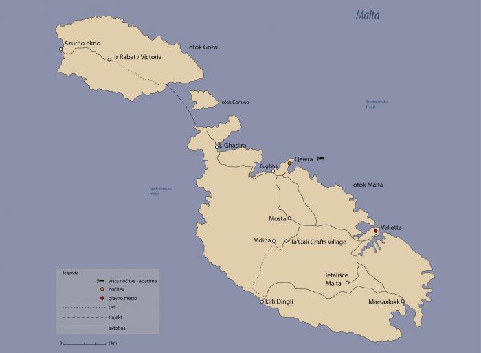 načrt potovanja malta, zemljevid Malte in vrisana najina pot po Malti
