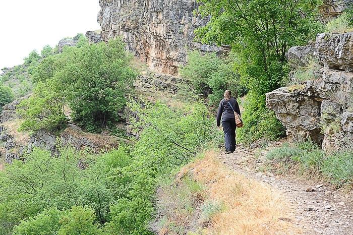 ženska v črni jakni in s pisano torbico hodi po gozdni poti