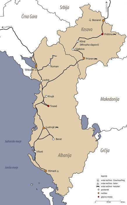 načrt potovanja Albanija Kosovo