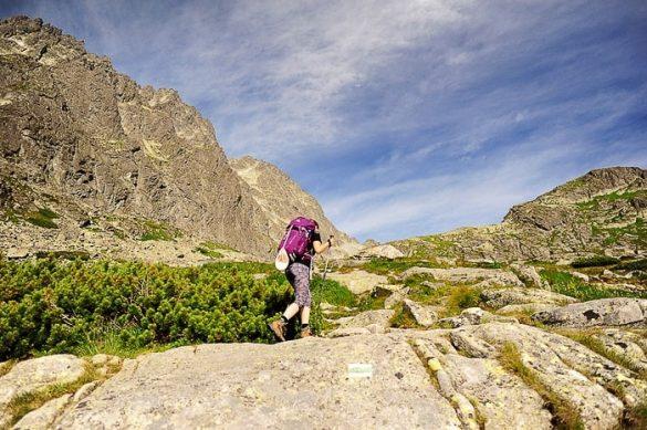 ženska z violičnim nahrbtnikom hodi po ledeniški dolini