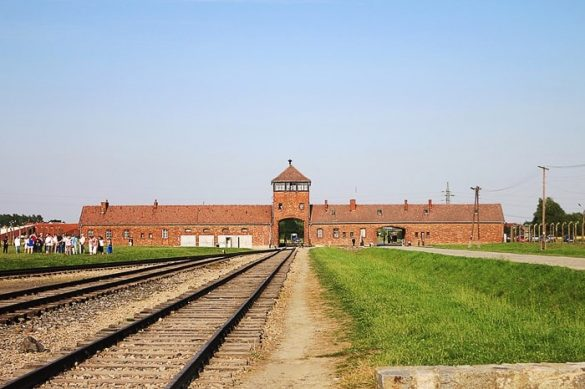 železniški tiri vodijo do vhoda v Auschwitz
