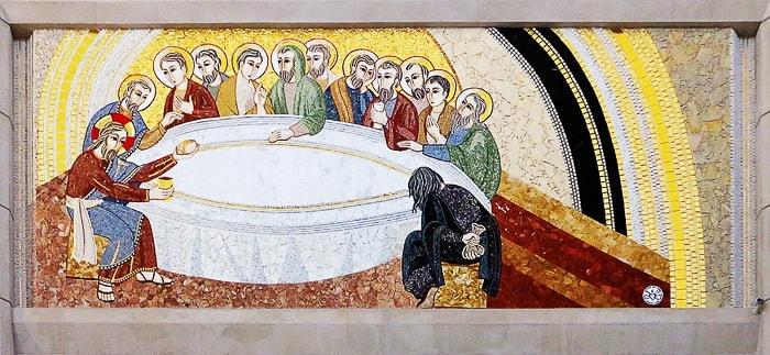 mozaik p. Ivana Rupnika, ki prikazuje zadnjo večerjo