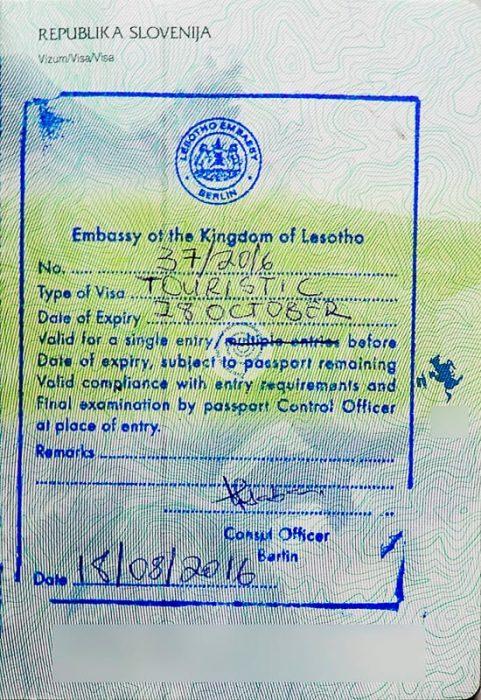 viza za lesoto