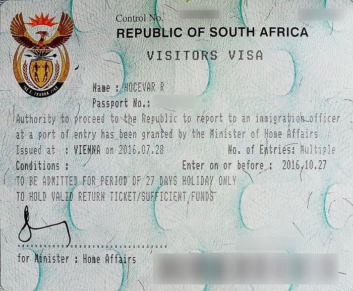 viza za južnoafriško republiko