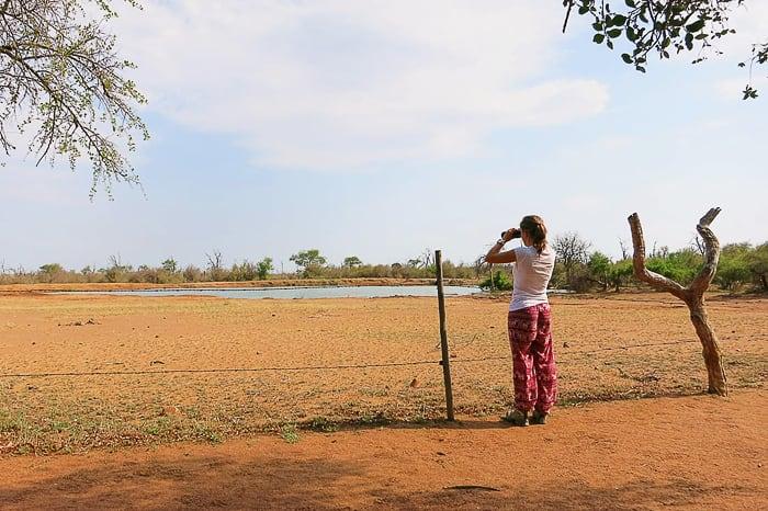 ženska z daljnogledom, park Hlane