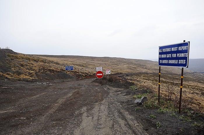 znak za rudnik diamantov Letseng