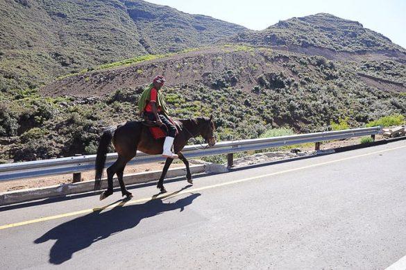 jezdec v Lesotu