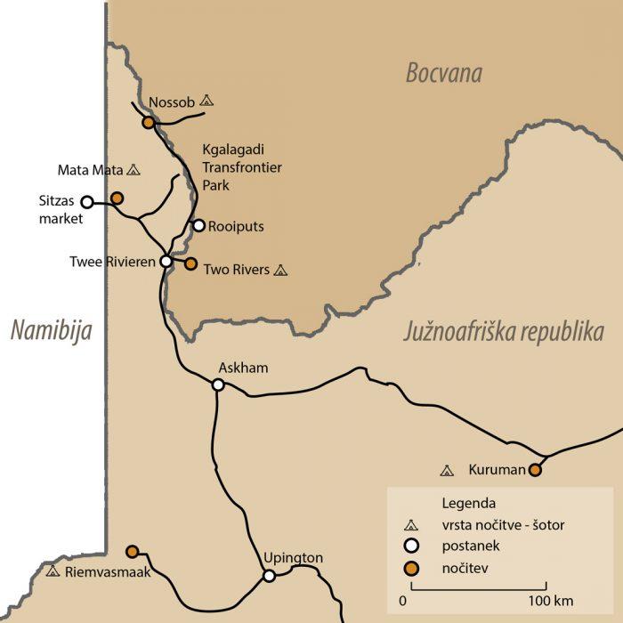 Zemljevid potovanja Kgalagadi park