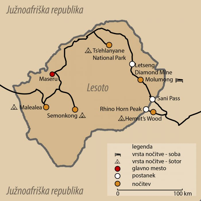 zemljevid Lesoto potovanje
