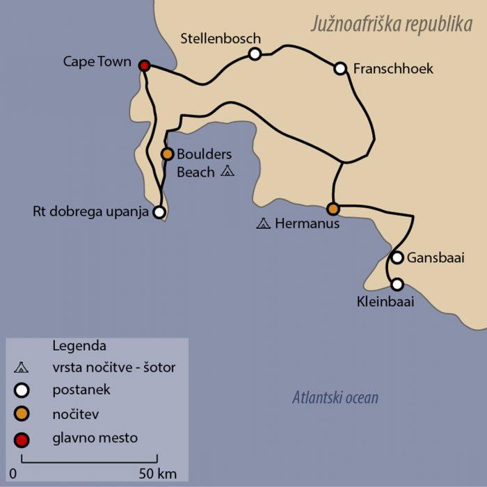 zemljevid Južna Afrika, Cape Town