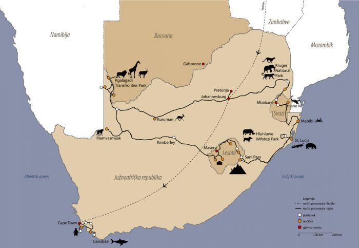 zemljevid potovanja Južna Afrika, načrt potovanja Južna Afrika