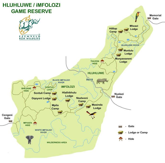 Hluluwe-iMfolozi zemljevid