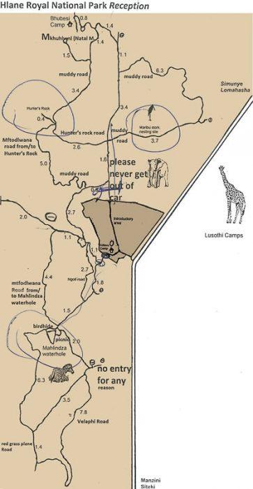 Hlane park map