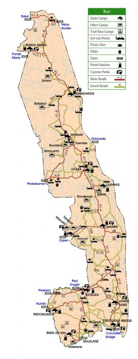 zemljevid park Kruger