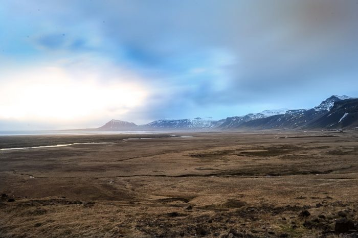 Cesta na islandiji, cesta proti zasneženim goram