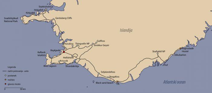 zemljevid potovanja po islandiji