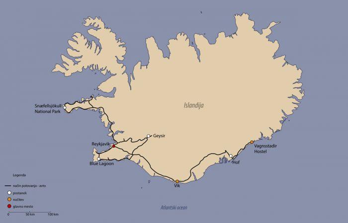 zemljevid potovanja islandija
