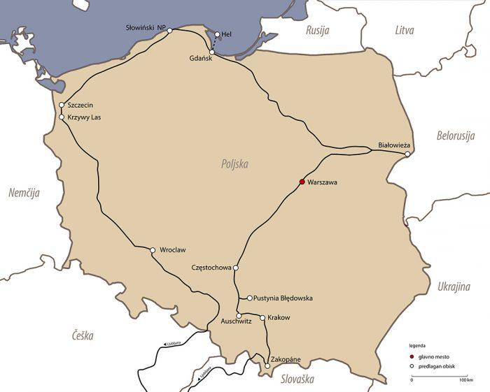 Zemljevid potovanja po Poljski