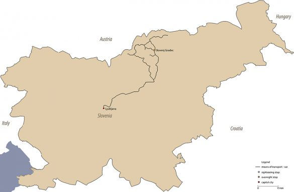 zemljevid izleta na Koroško