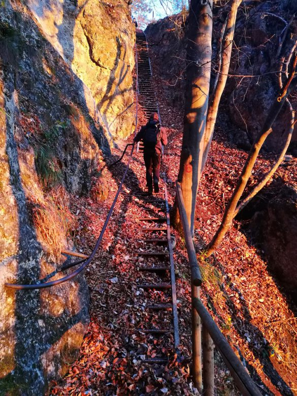 ženska hodi po stopnicah, ki vodijo na Malo Osojnico, po razgled na Bled