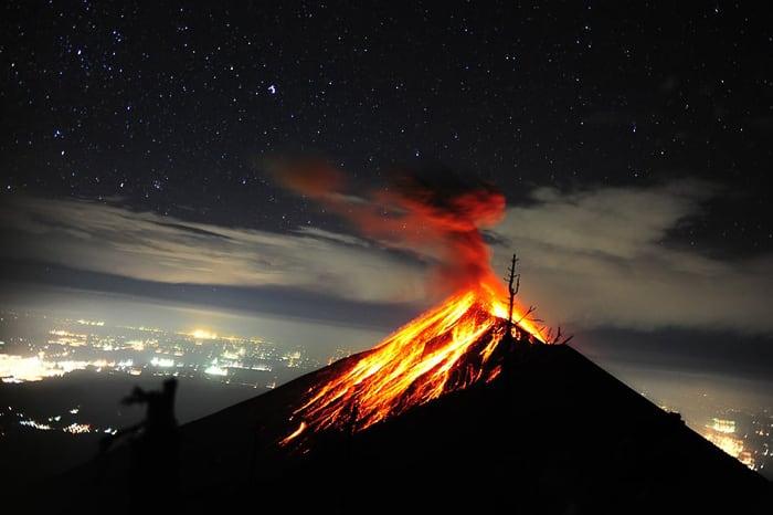 izbruh vulkana Fuego, gvatemala
