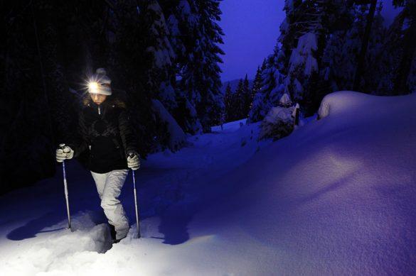 ženska s krpljami na nogah hodi po snegu