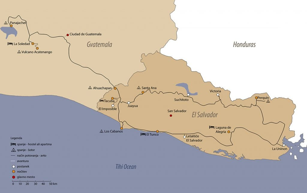 načrt potovanja: salvador in gvatelama, zemljevid potovanja