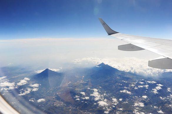 pogled na Gvatemalo iz letala AeroMexico