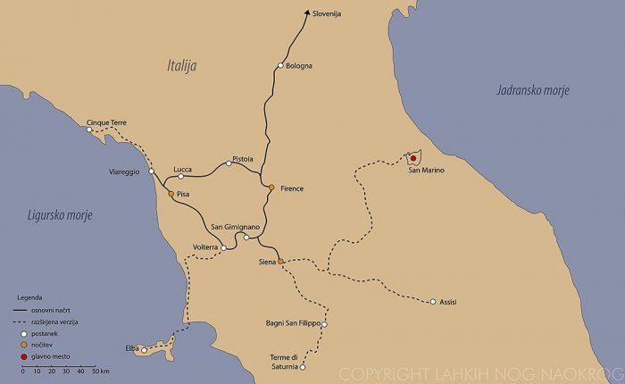 izlet v toskano - zemljevid poti