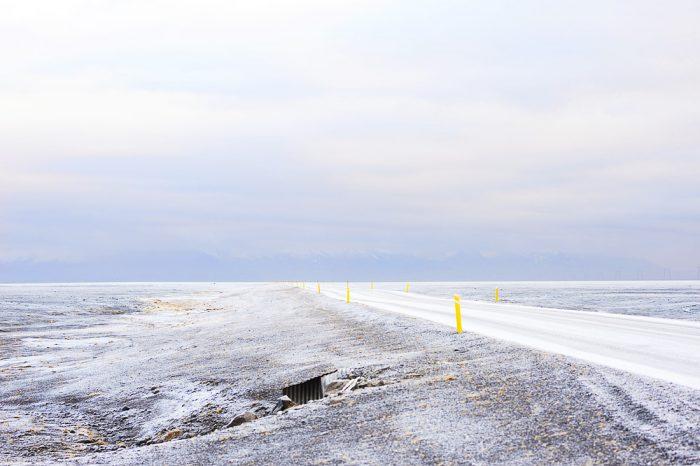 snežna cesta na islandiji