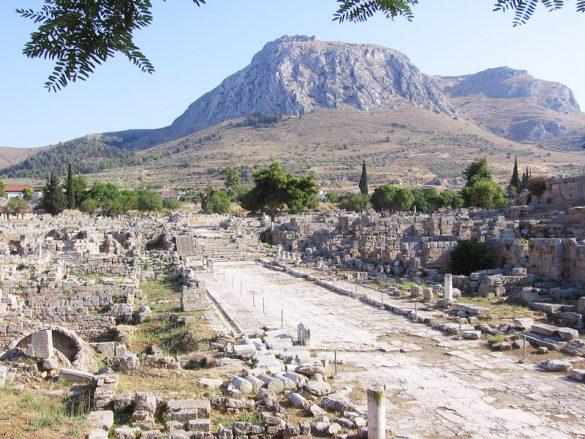 Pogled proti utrdbi Akrokorint