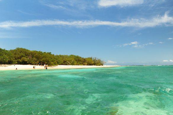 turkizno zeleno morje in tropski otok Lime Cay